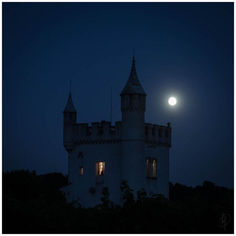Tower under full moon
