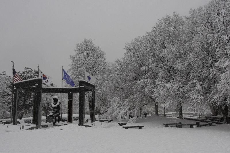 Korean War Memorial in the Snow