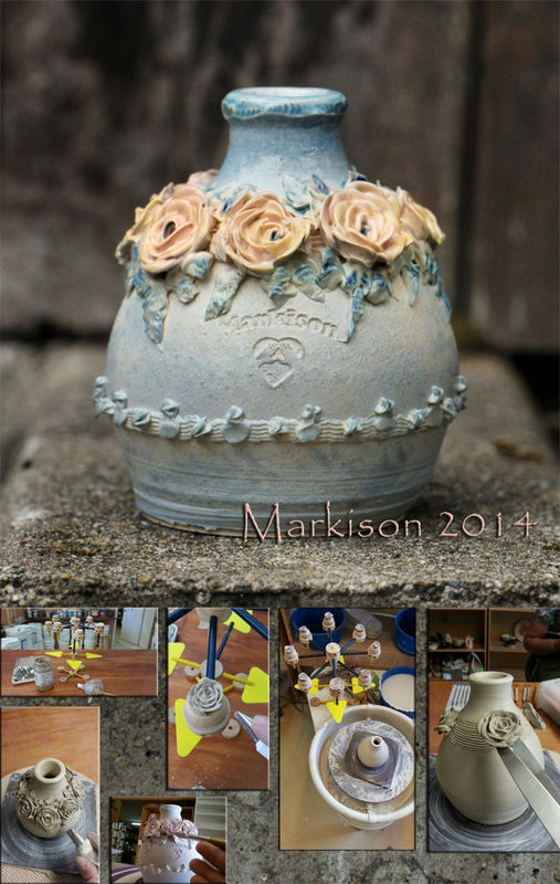 Rose Vase; hand thrown and hand piped porcelain