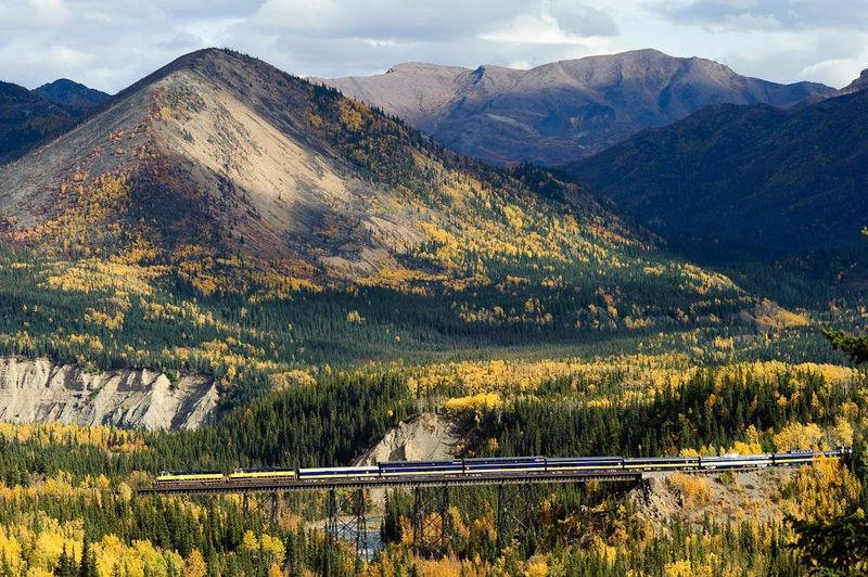 Alaska Railroad Train crosses over Riley Creek