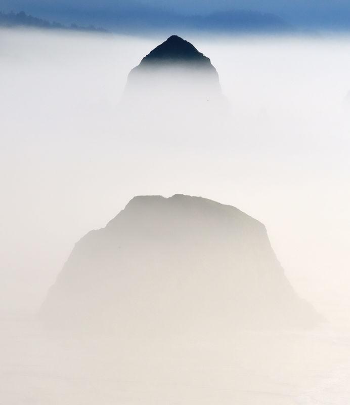 Haystack Rock in Fog