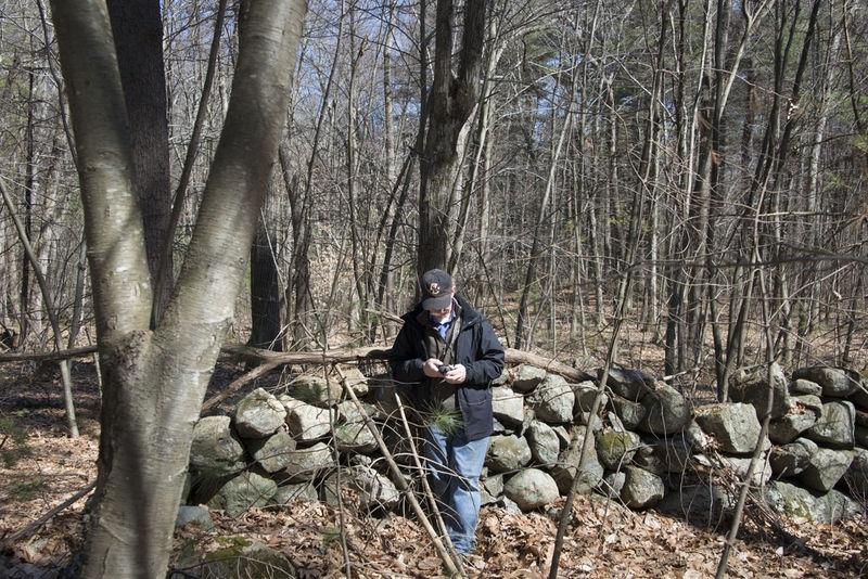 Checking my Garmin - Hamlen Woods, Sudbury MA