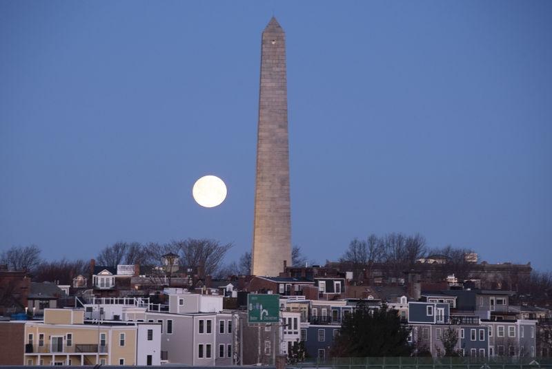 Moonset Over Bunker Hill Monument