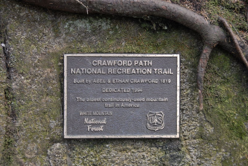 Plaque for Crawford Path - White Mountains, New Hampshire