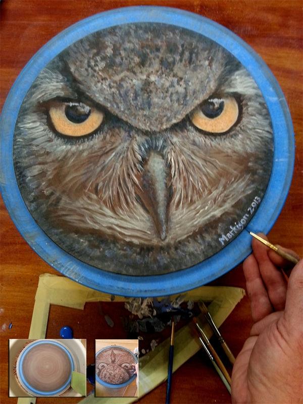 Asian Owl; hand painted with ceramic underglazes