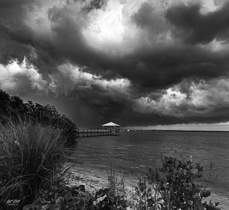 November Contest - B&W Landscape with Man Made Things - Bananna River Storm