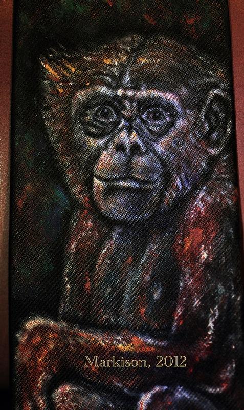 Chimpanzee Handpainted Silk Necktie