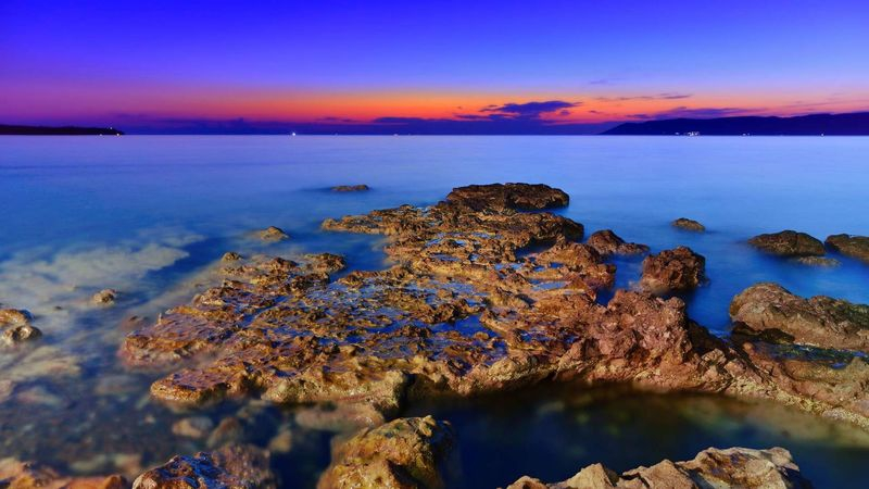 Sea in blue hour