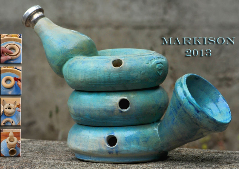 Donut Trumpet; hand thrown, ceramic