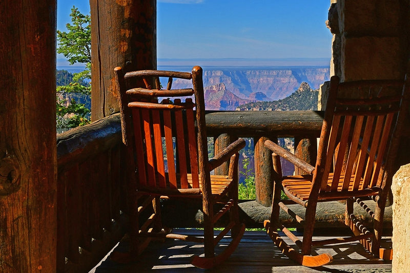 A cabin porch with a view