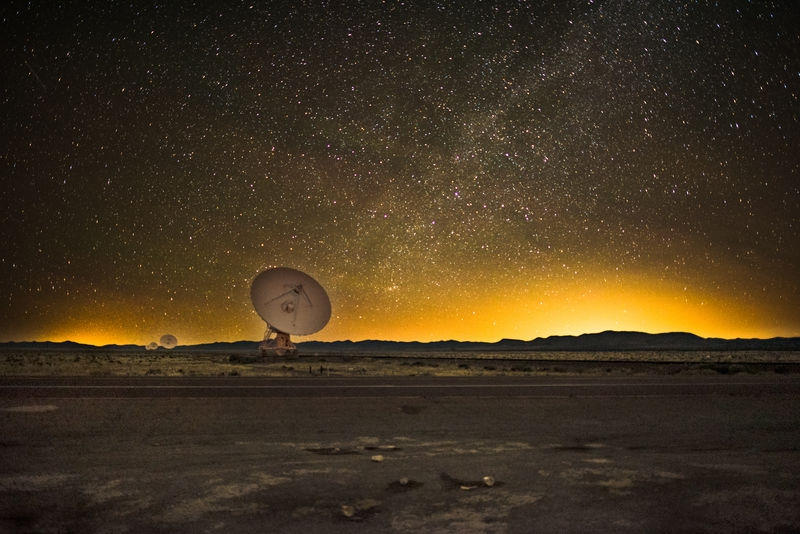 Milky Way at the VLA on the Plains of San Augustin in New Mexico