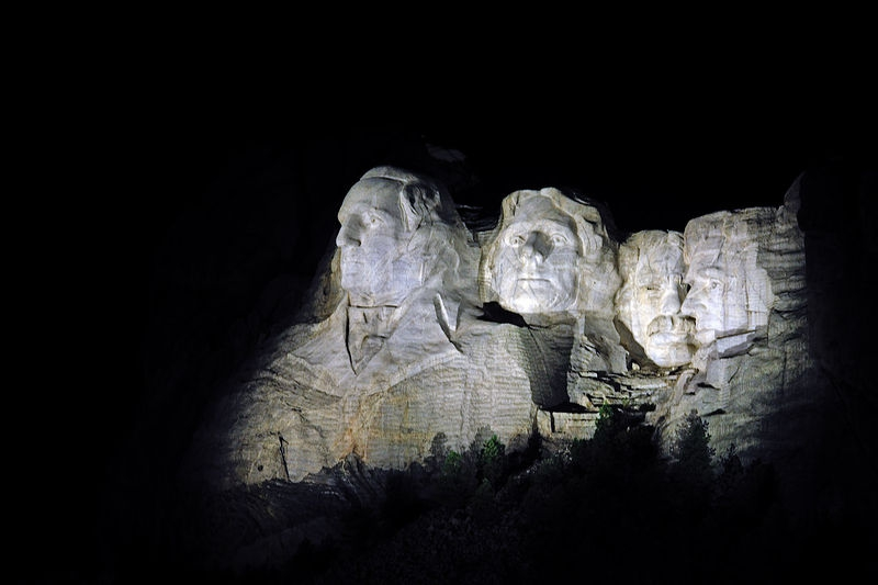 Mount Rushmore at night