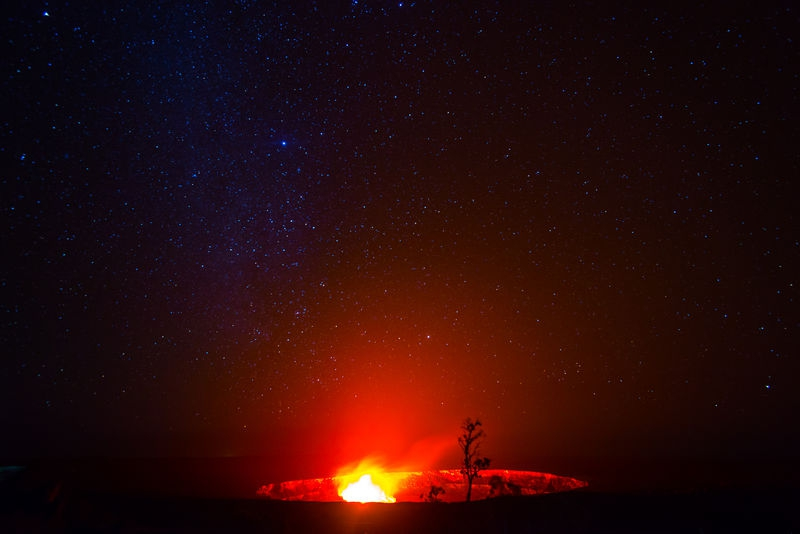 Crater at Hawaii Volcano National Park at night