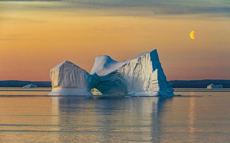 Arctic Circle Sunset and Moonrise